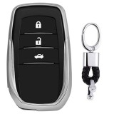 Electroplating TPU Single-shell Car Key Case with Key Ring for TOYOTA HIGHLANDER / CROWN / PRADO / VIOS / CAMRY / COROLLA (Silver)