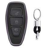 Electroplating TPU Single-shell Car Key Case with Key Ring for Ford FOCUS / KUGA / Mondeo / FIESTA (Black)