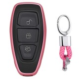 Electroplating TPU Single-shell Car Key Case with Key Ring for Ford FOCUS / KUGA / Mondeo / FIESTA (Pink)