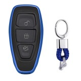 Electroplating TPU Single-shell Car Key Case with Key Ring for Ford FOCUS / KUGA / Mondeo / FIESTA (Blue)