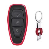 Electroplating TPU Single-shell Car Key Case with Key Ring for Ford FOCUS / KUGA / Mondeo / FIESTA (Red)