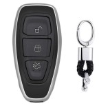 Electroplating TPU Single-shell Car Key Case with Key Ring for Ford FOCUS / KUGA / Mondeo / FIESTA (Silver)