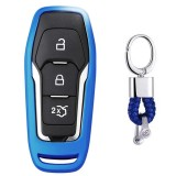 Electroplating TPU Single-shell Car Key Case with Key Ring for Ford Explorer / Edge / Mondeo / EcoSport / Taurus (Blue)