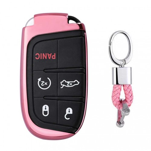 Electroplating TPU Single-shell Car Key Case with Key Ring for Jeep Compass / Cherokee / Renegade / Dodge / JCUV / Grand Cherokee (Pink)
