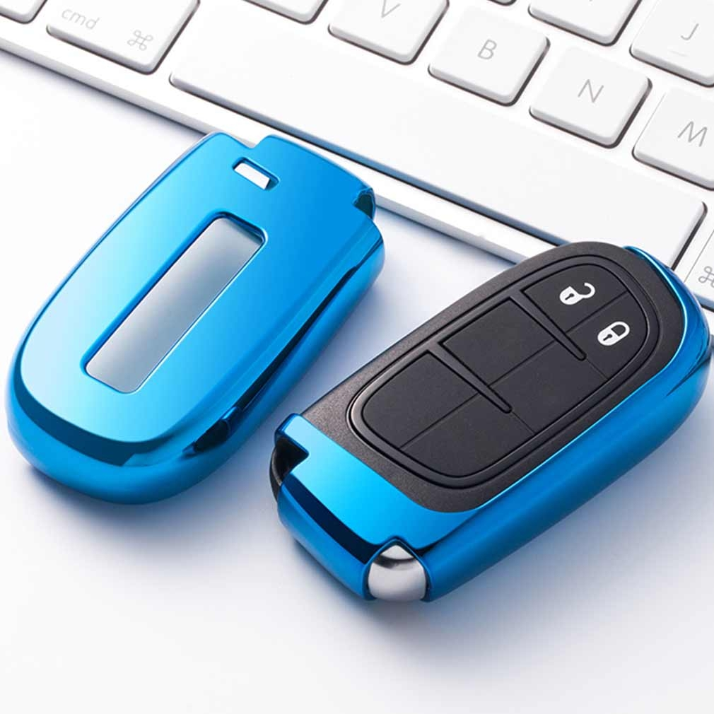 Electroplating TPU Single-shell Car Key Case with Key Ring for Jeep Compass / Cherokee / Renegade / Dodge / JCUV / Grand Cherokee (Blue)