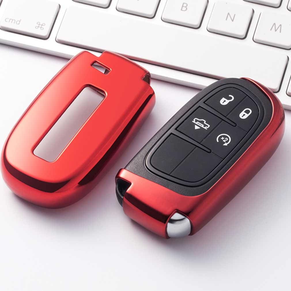 Electroplating TPU Single-shell Car Key Case with Key Ring for Jeep Compass / Cherokee / Renegade / Dodge / JCUV / Grand Cherokee (Red)