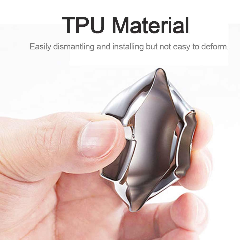 Electroplating TPU Single-shell Car Key Case with Key Ring for Jeep Compass / Cherokee / Renegade / Dodge / JCUV / Grand Cherokee (Silver)