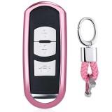 Electroplating TPU Single-shell Car Key Case with Key Ring for Mazda 3 AXELA / CX-8 / CX-5 / CX-4 / 6 ATENZA (Pink)