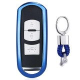 Electroplating TPU Single-shell Car Key Case with Key Ring for Mazda 3 AXELA / CX-8 / CX-5 / CX-4 / 6 ATENZA (Blue)