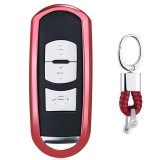 Electroplating TPU Single-shell Car Key Case with Key Ring for Mazda 3 AXELA / CX-8 / CX-5 / CX-4 / 6 ATENZA (Red)