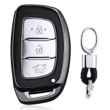 Electroplating TPU Single-shell Car Key Case with Key Ring for HYUNDAI MISTRA / Elantra / New SantaFe / Elantra / Celesta / Tucson / IX35 (Black)