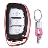Electroplating TPU Single-shell Car Key Case with Key Ring for HYUNDAI MISTRA / Elantra / New SantaFe / Elantra / Celesta / Tucson / IX35 (Pink)