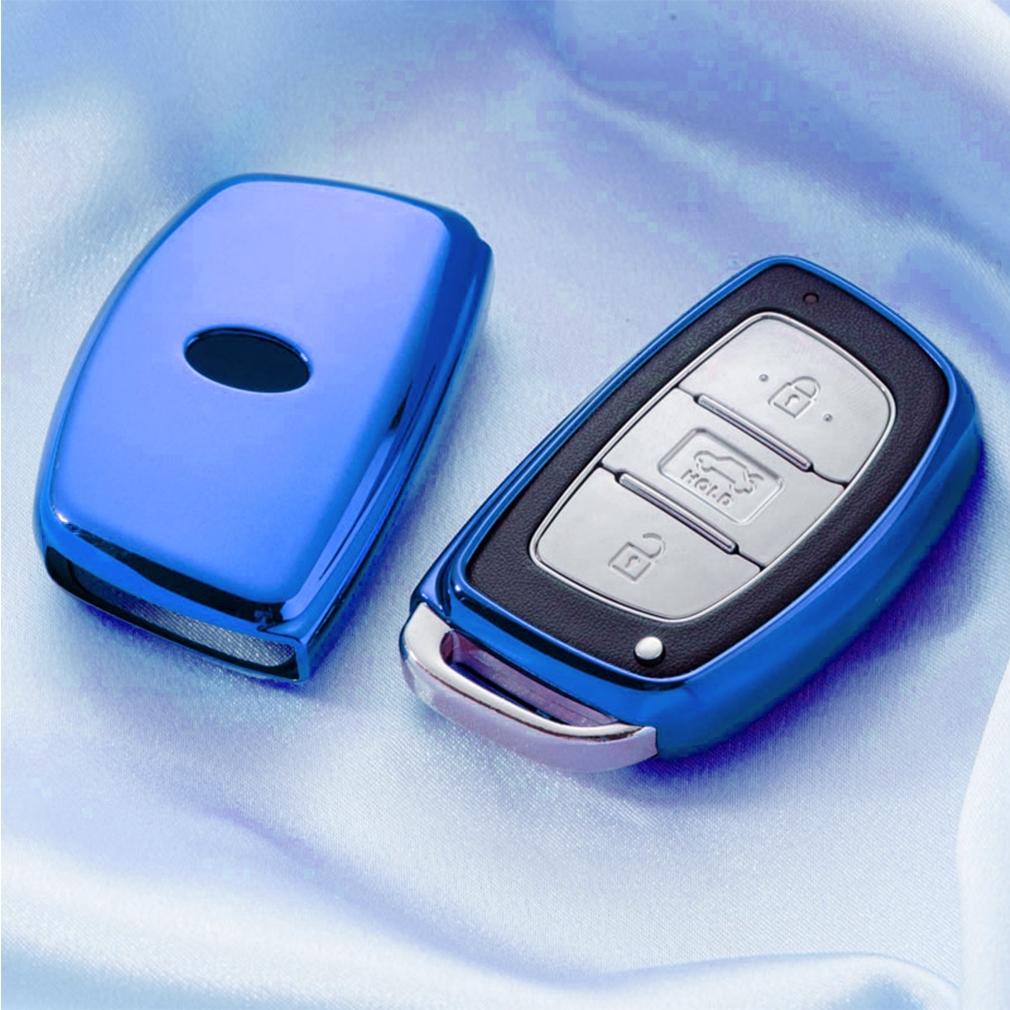 Electroplating TPU Single-shell Car Key Case with Key Ring for HYUNDAI MISTRA / Elantra / New SantaFe / Elantra / Celesta / Tucson / IX35 (Blue)