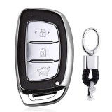 Electroplating TPU Single-shell Car Key Case with Key Ring for HYUNDAI MISTRA / Elantra / New SantaFe / Elantra / Celesta / Tucson / IX35 (Silver)