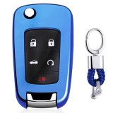 Electroplating TPU Single-shell Car Key Case with Key Ring for CHEVROLET CRUZE / AVEO & BUICK Hideo / XTGT / Regal / LACROSS (Blue)