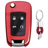 Electroplating TPU Single-shell Car Key Case with Key Ring for CHEVROLET CRUZE / AVEO & BUICK Hideo / XTGT / Regal / LACROSS (Red)