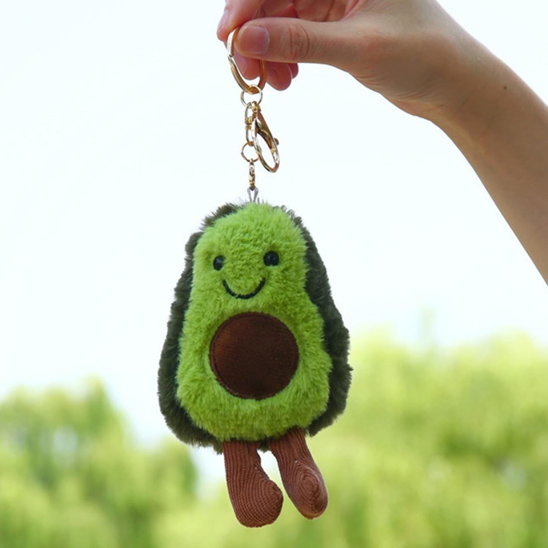 Cute Fruit Jewelry Plush Cartoon Anthropomorphic Avocado Key Ring