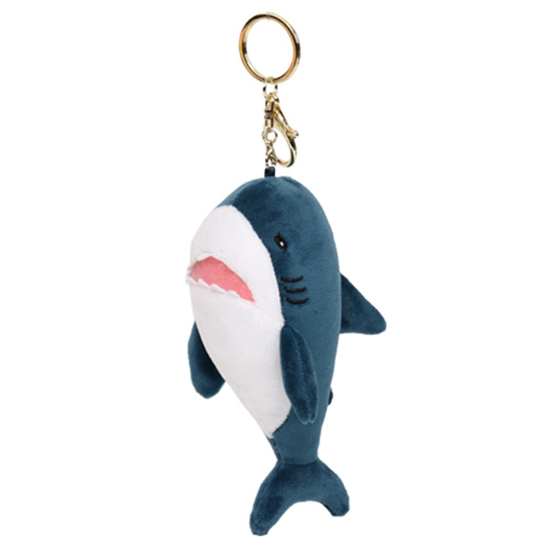 Cute Short Plush Cartoon Shark Doll Key Ring (Gold)