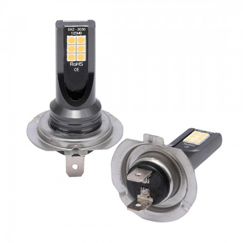 2 PCS H7 DC12V-24V / 12W / 3000K / 800LM 12LEDs SMD-3030 Car LED Fog Light (Yellow Light)