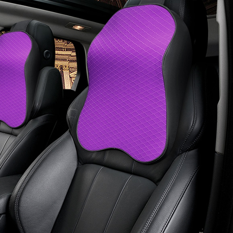 Four Seasons Breathable Memory Foam Car Neck Pillow Polyester Headrest (Purple)