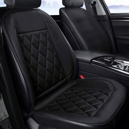 Car 12V Seat Heater Cushion Warmer Cover Winter Heated Warm, Single Seat (Black)