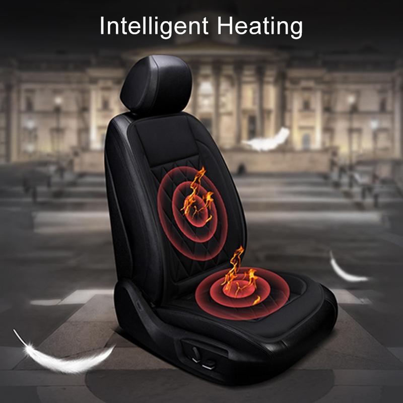 Car 12V Seat Heater Cushion Warmer Cover Winter Heated Warm, Single Seat (Grey)