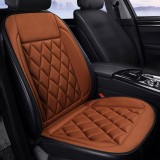 Car 12V Seat Heater Cushion Warmer Cover Winter Heated Warm, Single Seat (Brown)