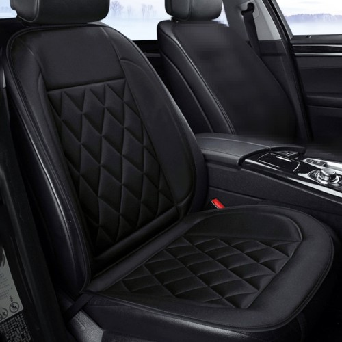 Car 24V Seat Heater Cushion Warmer Cover Winter Heated Warm, Single Seat (Black)