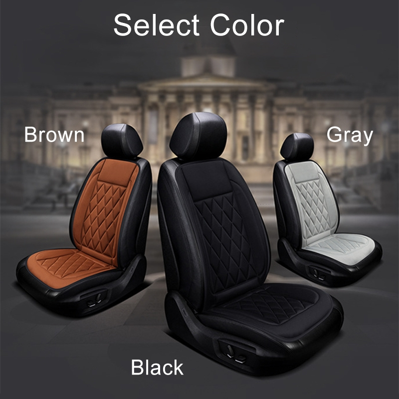 Car 12V Seat Heater Cushion Warmer Cover Winter Heated Warm, Double Seat (Brown)