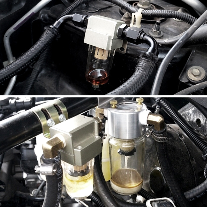 Engine Oil Catch Can Oil Filter Tank Breather Tank Single Cup with Drain Valve for Honda Civic