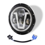 7 inch H4 DC 9V-30V 6000LM 6000K/3000K 55W IP67 3LED Lamp Beads Car Round Shape LED Headlight Lamps for Jeep Wrangler, with Angel Eye