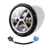 7 inch H4 DC 9V-30V 6000LM 6000K/3000K 55W IP67 4LED Lamp Beads Car Round Shape X LED Headlight Lamps for Jeep Wrangler, with Angel Eye