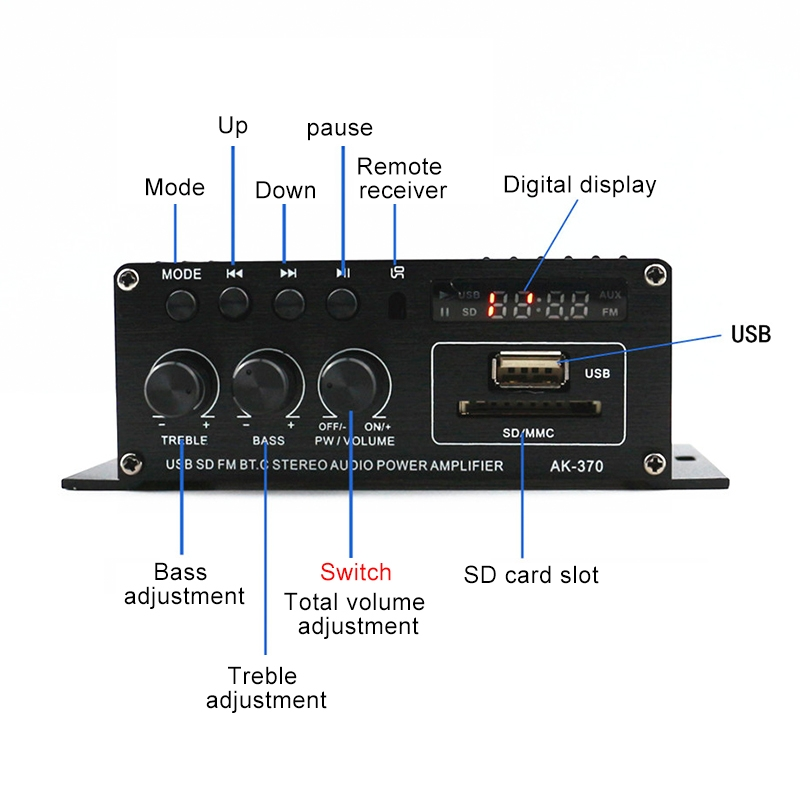 AK370 12V Household / Car Bluetooth HIFI Amplifier Audio with Remote Control