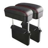 2 PCS Universal Car PU Leather Wrapped Armrest Box Cushion Car Armrest Box Mat with Storage Box (Black Red)