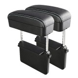 2 PCS Universal Car PU Leather Wrapped Armrest Box Cushion Car Armrest Box Mat with Storage Box (Black White)