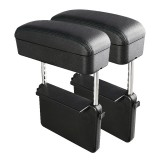 2 PCS Universal Car PU Leather Wrapped Armrest Box Cushion Car Armrest Box Mat with Storage Box (Black)