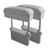 2 PCS Universal Car PU Leather Wrapped Armrest Box Cushion Car Armrest Box Mat with Storage Box (Grey)