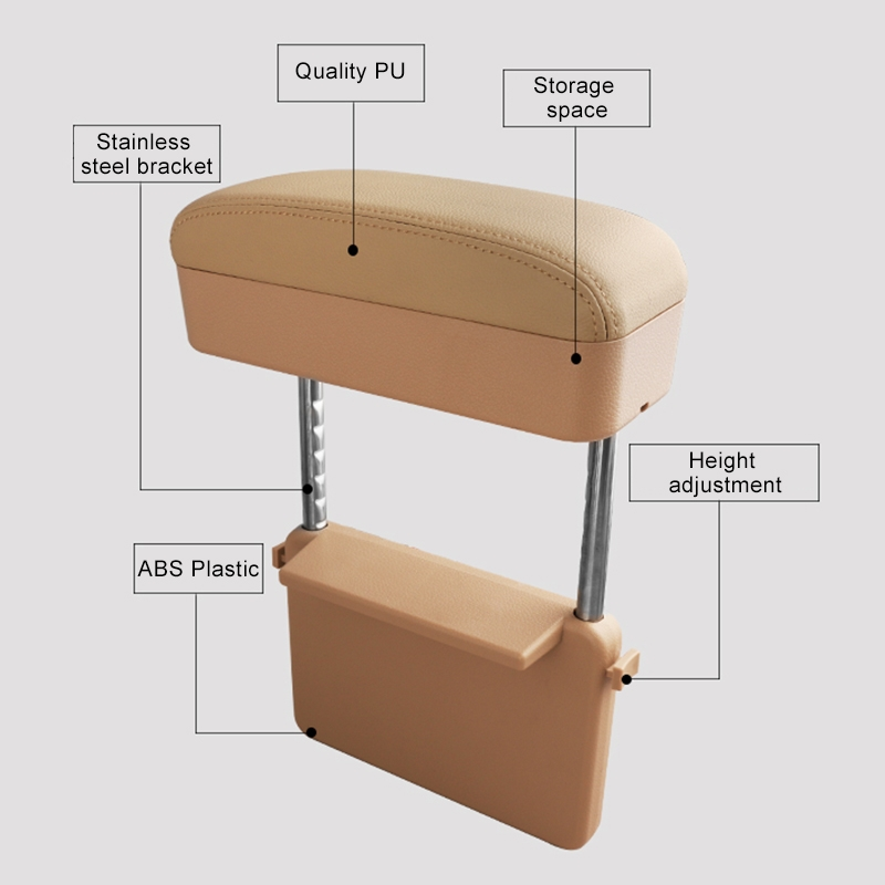 2 PCS Universal Car PU Leather Wrapped Armrest Box Cushion Car Armrest Box Mat with Storage Box (Beige)