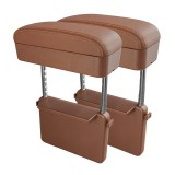 2 PCS Universal Car PU Leather Wrapped Armrest Box Cushion Car Armrest Box Mat with Storage Box (Brown)