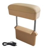 Universal Car Wireless Qi Standard Charger PU Leather Wrapped Armrest Box Cushion Car Armrest Box Mat with Storage Box (Beige)