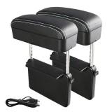 2 PCS Universal Car Wireless Qi Standard Charger PU Leather Wrapped Armrest Box Cushion Car Armrest Box Mat with Storage Box (Black White)
