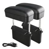 2 PCS Universal Car Wireless Qi Standard Charger PU Leather Wrapped Armrest Box Cushion Car Armrest Box Mat with Storage Box (Black)