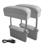 2 PCS Universal Car Wireless Qi Standard Charger PU Leather Wrapped Armrest Box Cushion Car Armrest Box Mat with Storage Box (Grey)