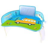 Children Waterproof Dining Table Toy Organizer Baby Safety Tray Tourist Painting Holder with Touch Screen Transparent Bag (School Bus)