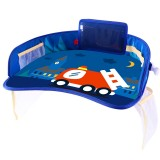 Children Waterproof Dining Table Toy Organizer Baby Safety Tray Tourist Painting Holder with Touch Screen Transparent Bag (Fire Truck)