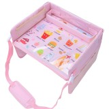 Children Waterproof Dining Table Toy Organizer Baby Safety Tray Tourist Painting Holder (Pink Food)