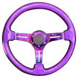 Car Colorful Modified Racing Sport Horn Button Steering Wheel, Diameter: 34.6cm (Purple)
