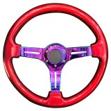 Car Colorful Modified Racing Sport Horn Button Steering Wheel, Diameter: 34.6cm (Red)