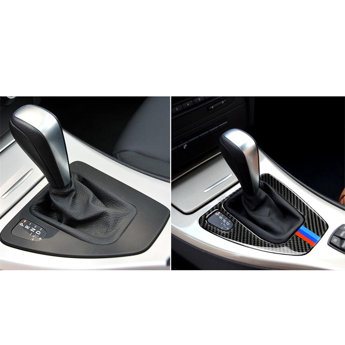 Three Color Carbon Fiber Car Left Driving Gear Panel Decorative Sticker for BMW E90 / E92 2005-2012, Sutible for Left Driving