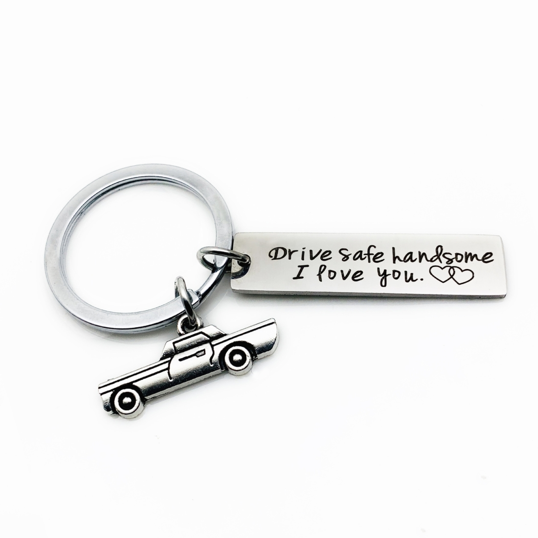 Creative Drive Safe Handsome Words Stainless Steel Keychain Key Rings (Car)